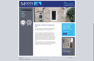 Website design and development for Moors Construction