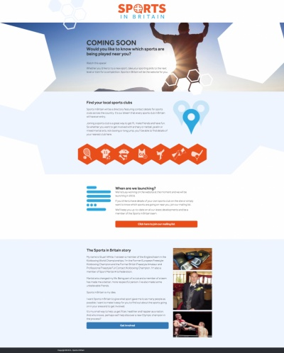 Web design and landing page for Sports in Britain