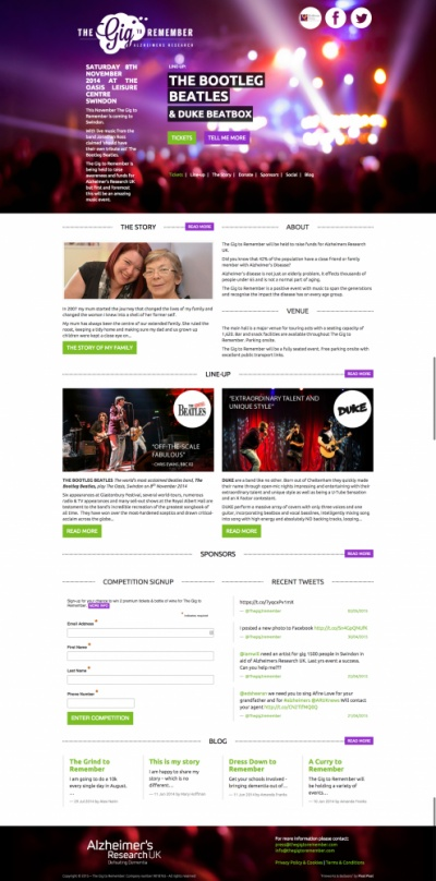 Website design for The Gig to Remember